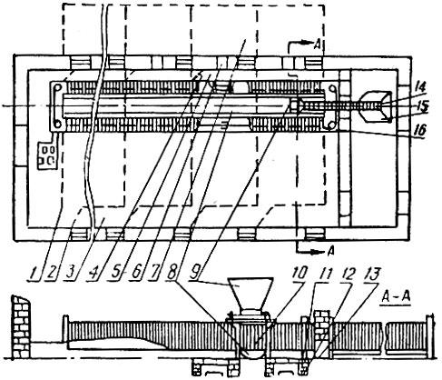 Схема реконструкции свинарника для до ращивания молодняка: 1 - станки, 2 - дверь, 3 - общий проход, 4 - дверь, 5...